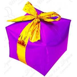Фигурный шар - Куб, подарок с бантиком, фуше.