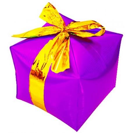 Фигурный шар - Куб, подарок с бантиком, фуше. 71 см.