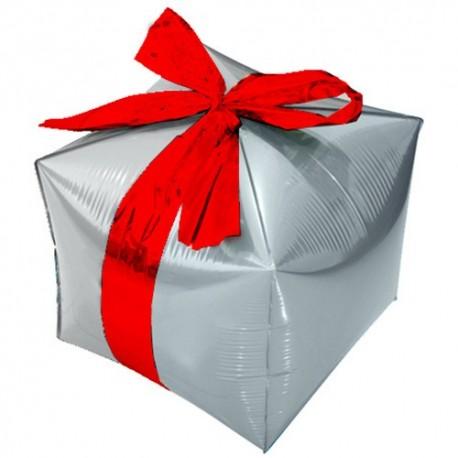Фигурный шар - Куб, подарок с бантиком, серебро. 71 см.
