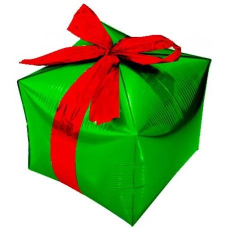 Фигурный шар - Куб, подарок с бантиком, зеленый. 71 см.