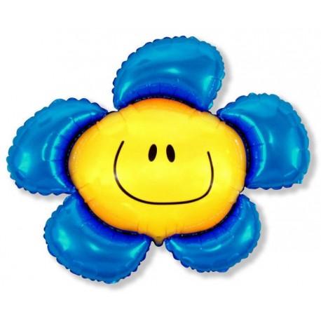 Фигурный шар - солнечная улыбка, синий. 104 см.