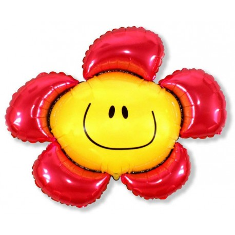 Фигурный шар - солнечная улыбка, красная. 104 см.