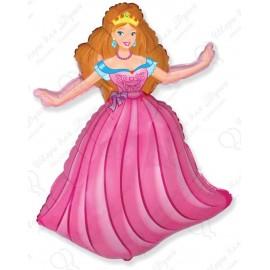 Фигурный шар - принцесса, розовый.