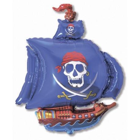 Фигурный шар - пиратский корабль, синий. 104 см.