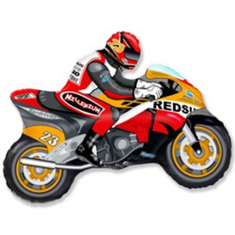 Фигурный шар - мотоцикл, оранжевый. 84 см.