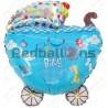 Шар - коляска на выписку, голубой. 61 см.