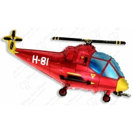 Фигурный шар - вертолет красный. 99 см.