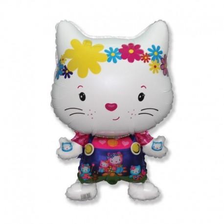 Фигурный шар - маленький дружелюбный котенок, белый. 81 см.