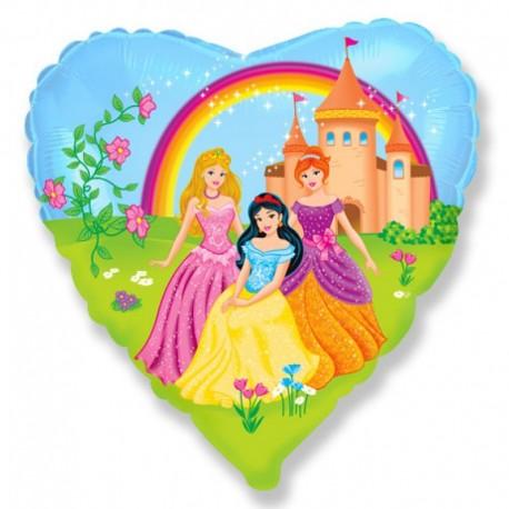 Фольгированное сердце - Замок Принцессы. 46 см.