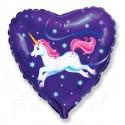 Фольгированное сердце - летающий Единорог.
