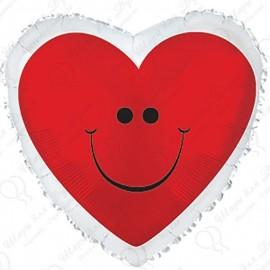 Фольгированное сердце с улыбкой.