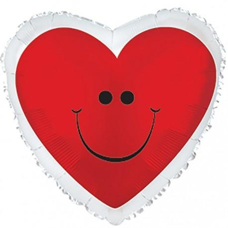 Фольгированное сердце с улыбкой. 46 см.