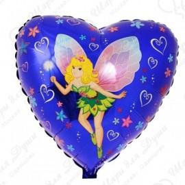 Фольгированное сердце - Фея, синий.
