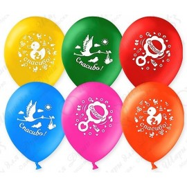 Воздушный шар 30 см Спасибо!, ассорти, пастель.