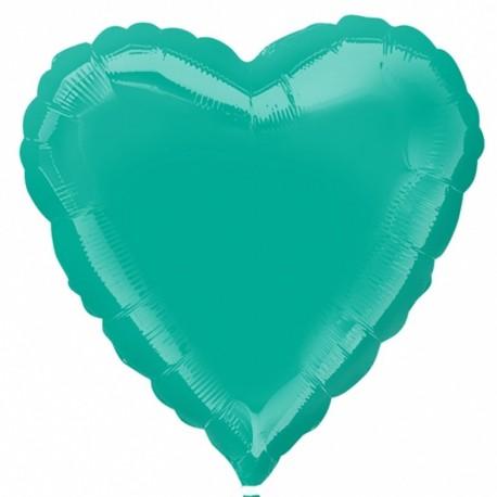 Фольгированное сердце - Тиффани, 46 см.