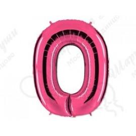 Фольгированная цифра 0, розовый 102 см.