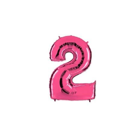 Фольгированная цифра 2, розовый 102 см.