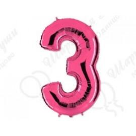 Фольгированная цифра 3, розовый 102 см.