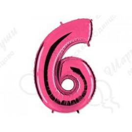 Фольгированная цифра 6, розовый 102 см.