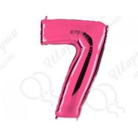 Фольгированная цифра 7, розовый 102 см.