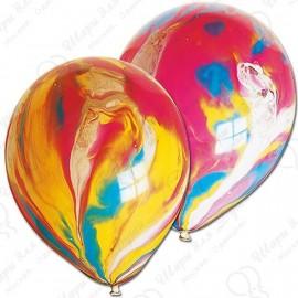 Воздушный шар 30 см супер агат, многоцвет.