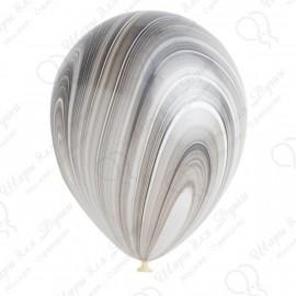 Воздушный шар - супер агат, черно-белый, 30 см.