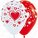 Воздушный шар 30 см множество сердец, бело-красный.