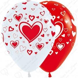 Воздушный шар - множество сердец, бело-красный, 30 см.