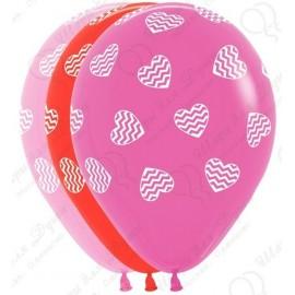 Воздушный шар 30 см Полосатые сердца, ассорти, пастель.