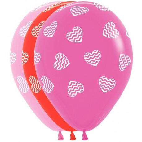Воздушный шар - Полосатые сердца, ассорти, 30 см.