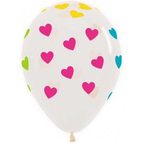 Воздушный шар - сердца, прозрачный, 30 см.