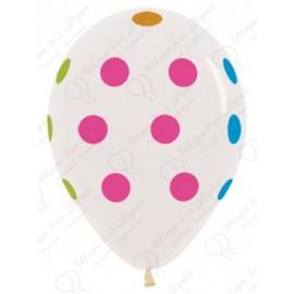 Воздушный шар 30 см горошек, прозрачный.