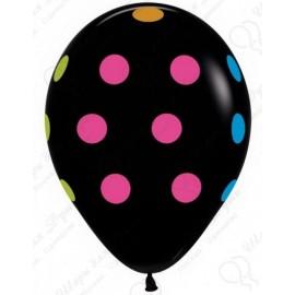 Воздушный шар - горошек черный, пастель, 30 см.