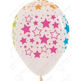 Воздушный шар 30 см звезды, прозрачный.