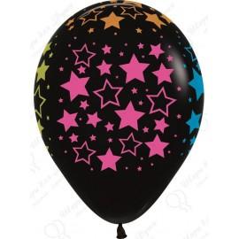 Воздушный шар черный 30 см  звезды, пастель.