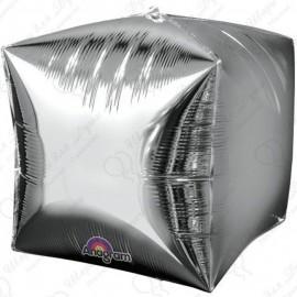 Фигурный шар - куб серебро, 71 см.