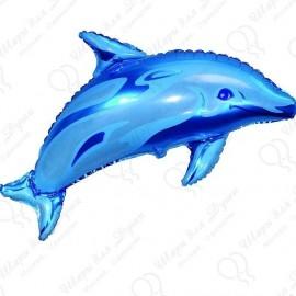 Фигурный шар - Дельфин, голубой, 86 см.