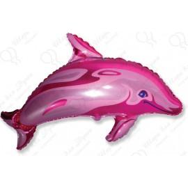 Фигурный шар - Дельфин, розовый, 86 см.