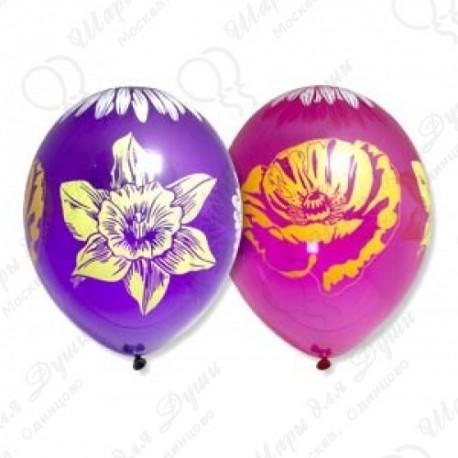 Воздушный шар Цветы, 38 см.