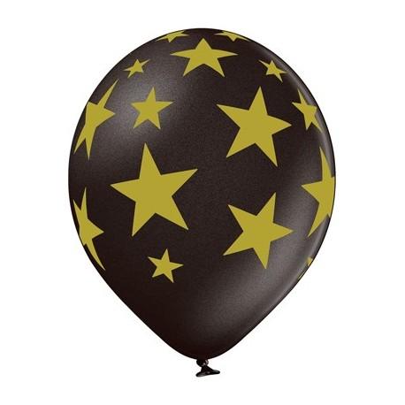 Воздушный шар золотые звезды, черный, 30 см.