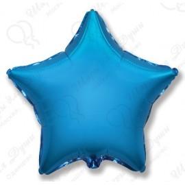 Фольгированный шар 46 см Звезда синяя.