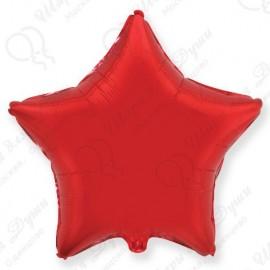 Фольгированный шар 46 см Звезда красная.