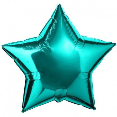 Фольгированная Звезда цвета тиффани. 81 см.
