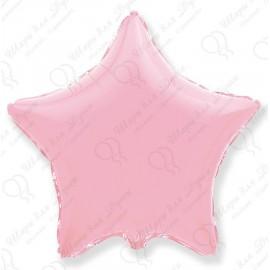 Фольгированный шар 46 см Звезда светло - розовая, пастель.