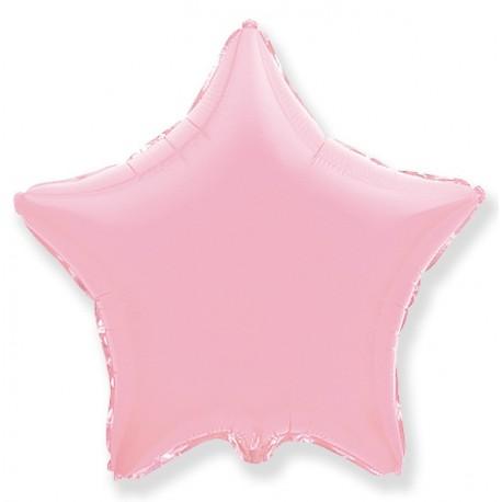 Фольгированный шар - Звезда светло - розовая, пастель. 46 см.