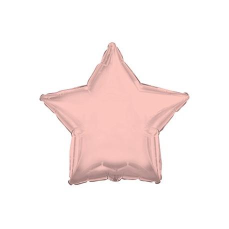 Фольгированный шар - Звезда, Розовое Золото, 46 см.