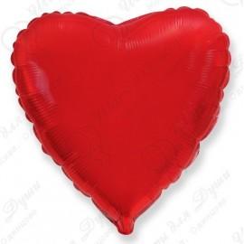 Фольгированное сердце - Красное, 46 см.