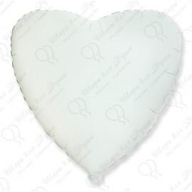 Фольгированный шар - сердце, белый,  46 см.