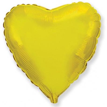 Фольгированное сердце золотое. 81 см.