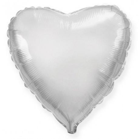 Фольгированное сердце, серебро. 46 см.